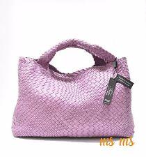 FALOR DESIGNER HAND woven Light Purple leather Hobo tote Handbags W/ Pouch RARE
