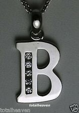 """Initial """"B"""" Solid 14K White Gold Pendant 7/8"""" BIG 1.2g GORGES"""