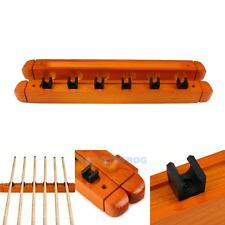 6 Cues Pool Stick Wood Billiards Snooker Table Rack Holder Wooden Wall Mount KIT