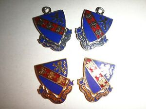 """Two Pairs Of US 147th INFANTRY Regiment """"CARGONEEK GUYOXIM"""" Charms + Emblems"""