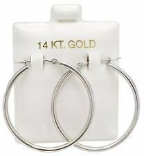 SOLID 14k WHITE GOLD HOOP Earrings *FREE SHIPPING * Low price