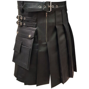 Men Costumes Halloween Kilt Real Black Leather Gladiator Pleated Utility LARP