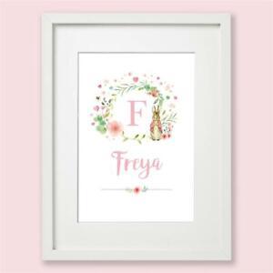 Peter Rabbit Personalised Pink Floral Name Nursery Print Wall Art Gift Baby Girl