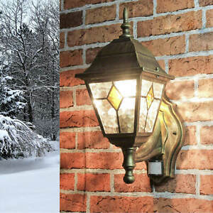 Antik- farbene Außenleuchte Wandlampe mit Bewegungsmelder Sensor Beleuchtung Hof