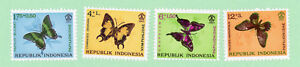 Indonesia, 4 stamps, SC  B156 - B159, Butterflies, 1963, MPH