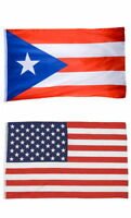2 FLAGS PUERTO RICAN FLAG OF PUERTO RICO 3 X 5 FEET AND AMERICAN USA FLAG 3 X 5