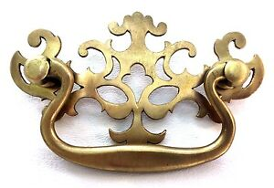 """Brass Antique Hardware Pierced Back Colonial Chippendale Drawer Pull  3"""" center"""