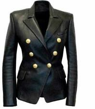Womens Kim Kardashian Black Double Breasted Slim Fit Real Leather Jacket Blazer