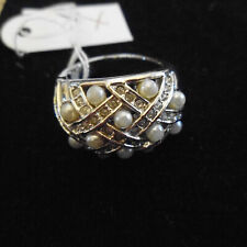 BEAUTIFUL SILVER TONE FAUX PEARL AND CRYSTAL RING