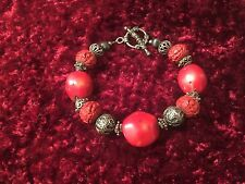 SILPADA Red Coral Cinnabar .925 Sterling Silver Toggle Bracelet B0985