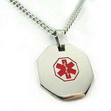MyIDDr - Womens DEMEROL ALLERGY Steel Medical Alert ID Necklace, PRE-ENGRAVED