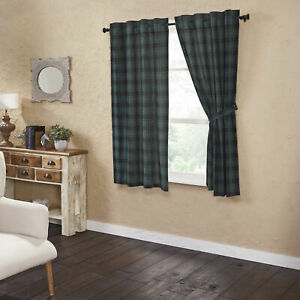 """VHC Brands Rustic 63""""x36"""" Panel Pair Green Rod Pocket Pine Grove Window Curtains"""