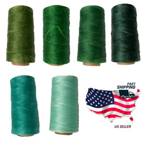 0.8mm 284Yards Green Colors Flat Waxed Thread Leather Hand Sewing Stiching Cord