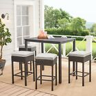 Outdoor Patio High Dining Set Cushioned Wicker Furniture Garden Yard Beer Table