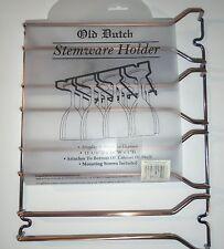 OLD DUTCH GENUINE COPPER ANTIQUE STEMWARE WINE GLASS UNDER CABINET HOLDER – NIP