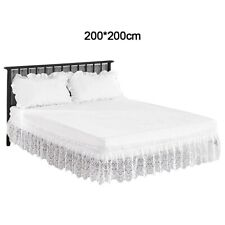 New 4 Sizes of White Lace Trim Stretch Bed Skirt for Double Bed Queen Bed Skirt
