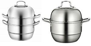 Large Stainless Steel Steam Cooker Steamer Pan Cook Food Veg Pot Set 26/30/32cm
