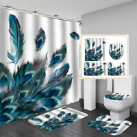 Peacocks Feathers Printing Bathroom Shower Curtains Toilet Cover Mat Waterproof