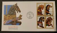 US Stamps SC# 2976-2979 1995 Carousel Horses Block Postage First Day Cover FDC