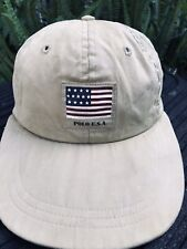 Vintage Polo Ralph Lauren USA Flag Hat Long Bill Fitted S/M Rare Sport Country