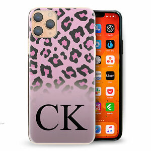 Personalised Initial Phone Case, Pink Leopard Print Hard Cover with Name