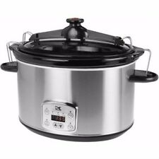 Slow Cooker with Locking Lid Stainless Steel Kitchen Dining Small Appliance Cook