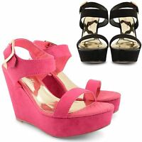 LADIES WOMENS DOLCIS ANKLE PLATFORM PEEP TOE HIGH HEEL WEDGE SHOES SANDALS SIZE