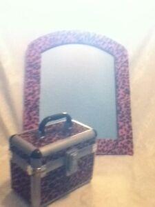 2 Pc Pink Black Leopard Fur Mirror Travel Train Makeup Cosmetic Art Jewel Case