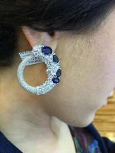 Absolutely Stunning Handmade Deep Rich Blue Ceylon Sapphires & White CZ Earrings