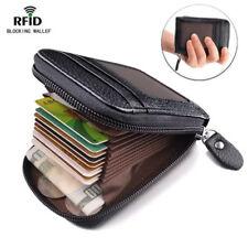 Vintage Genuine Leather RFID Card Holder Women Men Wallet Credit Card Holders