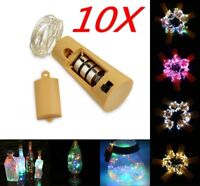 1-10X Cork Shaped 15 LED Night Light Starry Lights Wine Bottle Lamp For Party