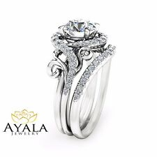 White Gold Ring with Matching Band Moissanite Unique Engagement Ring Set 14K