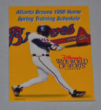 Atlanta Braves 1998 Spring Training Pocket Schedule (Disney's Wide World Sports)