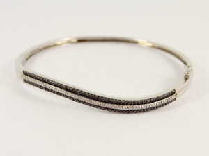 Black & White Diamond Bangle Sterling Silver Ladies Bracelet 925 11.6g Jw89
