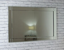 """Julia Silver Glass Framed Rectangle Bevelled Wall Mirror 48"""" X 32"""" Extra Large"""