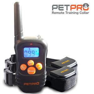 PetPro Remote Dog Training Collar 300m Range, Waterproof, Rechargable (2 Collar)