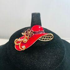 Vintage RED HAT SOCIETY Enamel AB Rhinestone Gold Tone Brooch Pin