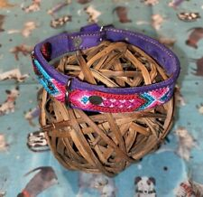 Dog Collar Purple Genuine Leather Small Breed 100% Colorful Silk Weaved Thread