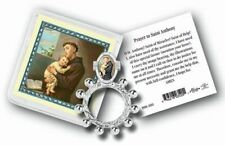 St. Anthony Rosary Ring, Plastic Pouch, Gold-Stamped Prayer Card 10 Pack