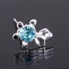 fighting fish Stud Earrings Ear Jewellery WomenUK gift silver blue rhinestone