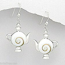 """4.45g Solid Sterling Silver White Teapot Collectors Dream 1.5"""" Dangle Earrings"""