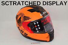 SCRATCHED LARGE LS2 FAN Matte Orange Full Face Motorcycle Helmet w/Sun Shield