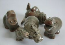 * Lot 4 High Quality Handmade Miniatures Ceramic Lovely Hippo Family Figurine *
