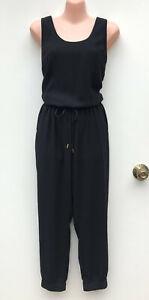 WITCHERY Black Pantsuit/Jumpsuit Tie Waist/Hip Pockets/Elastic Cuffs sz 10