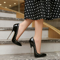 16cm Womens Sexy Rivets Pointed Toe Stilettos High Slim Heels Clubwear Shoes SZ