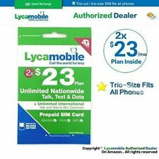 LYCAMOBILE Prepaid $23 X2 Preloaded Sim Card Plan 2 Months Talk Text Data 4G LTE