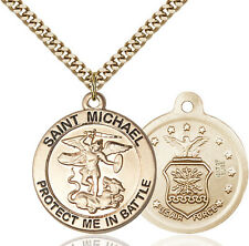14K Gold Filled St Michael The Archangel Air Military Catholic Medal Necklace