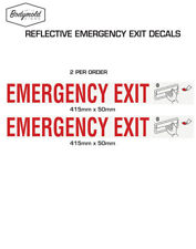 EMERGENCY EXIT Lift Handle style stickers REFLECTIVE 415mm x 50mm