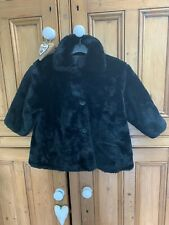 LOVELY VINTAGE GIRLS CHILD'S BLACK FAUX FUR RETRO SWING JACKET COAT 3/4 YEARS?