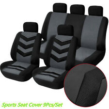 9 Pcs Grey&Black Car Truck Breathable Sports Full Front Seat Cover Protector Mat